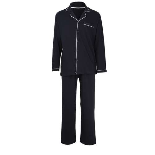 GÖTZBURG Herren Pyjama blau uni 1er Pack im 0° Winkel