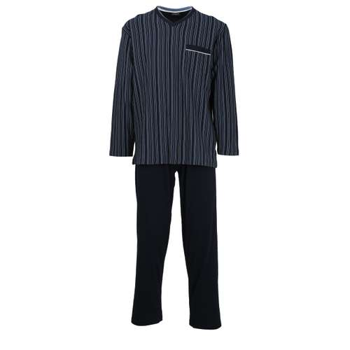 GÖTZBURG Herren Pyjama blau längsgestreift 1er Pack im 0° Winkel