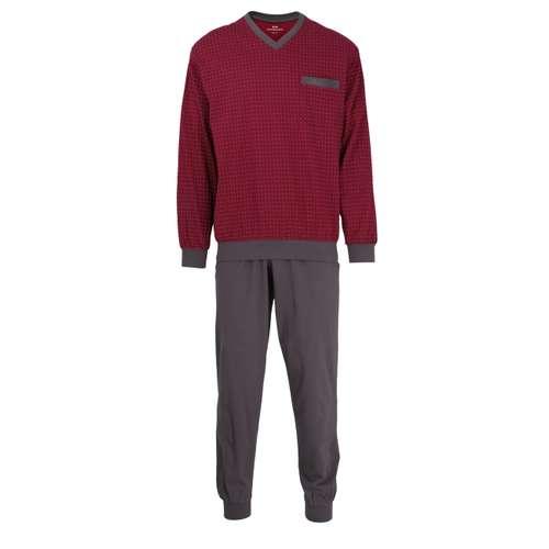 GÖTZBURG Herren Pyjama rot bedruckt 1er Pack im 0° Winkel