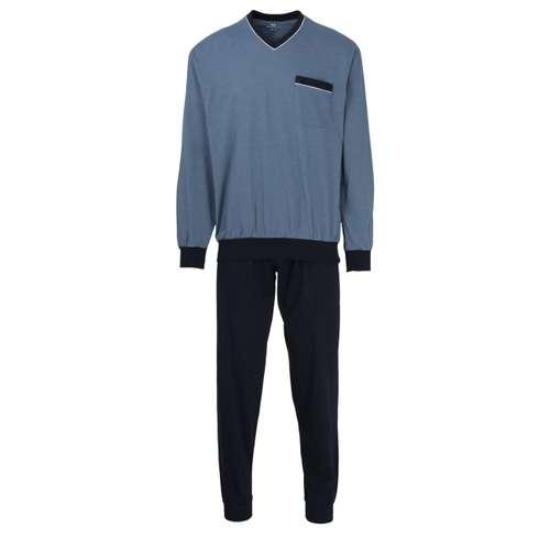 GÖTZBURG Herren Pyjama blau melange 1er Pack im 0° Winkel