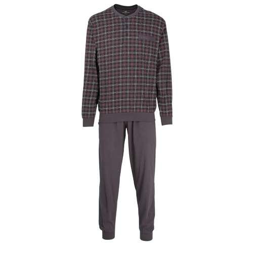 GÖTZBURG Herren Pyjama grau kariert 1er Pack im 0° Winkel