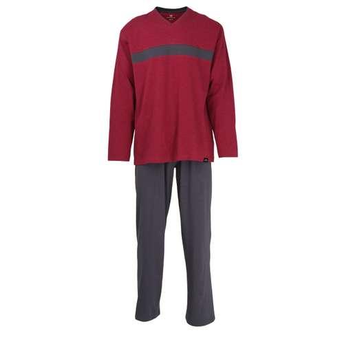 GÖTZBURG Herren Pyjama rot melange 1er Pack im 0° Winkel