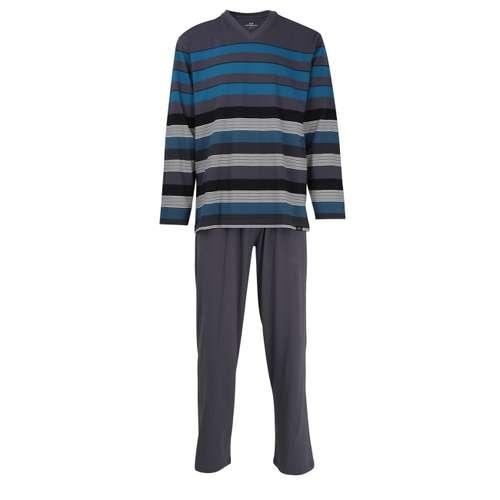 GÖTZBURG Herren Pyjama grün quergestreift 1er Pack im 0° Winkel