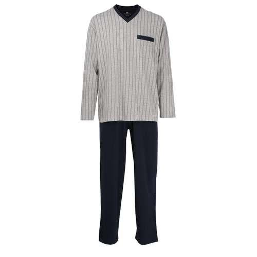 GÖTZBURG Herren Pyjama grau längsgestreift 1er Pack im 0° Winkel