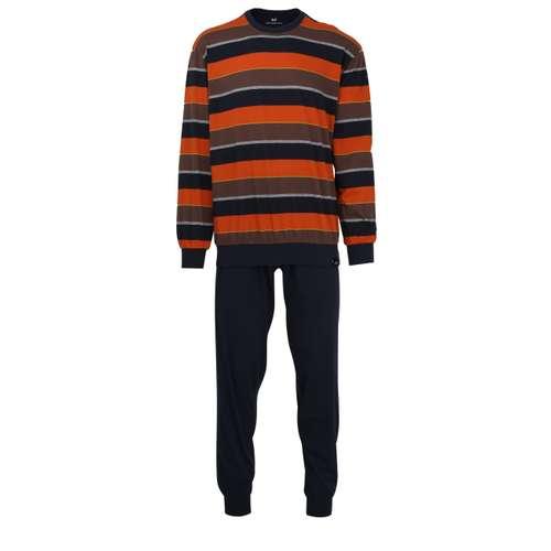 GÖTZBURG Herren Pyjama braun quergestreift 1er Pack im 0° Winkel