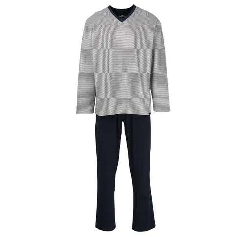 GÖTZBURG Herren Pyjama grau quergestreift 1er Pack im 0° Winkel
