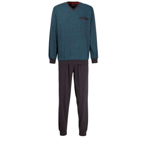 GÖTZBURG Herren Pyjama grau bedruckt 1er Pack im 0° Winkel