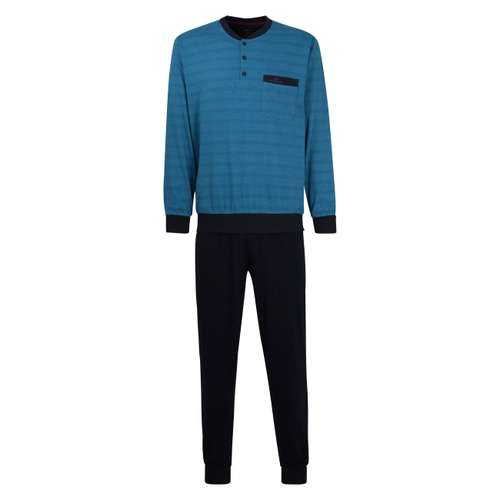 GÖTZBURG Herren Pyjama blau quergestreift 1er Pack im 0° Winkel