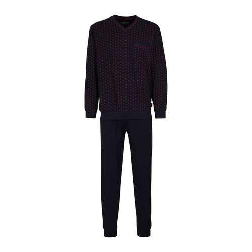 GÖTZBURG Herren Pyjama blau bedruckt 1er Pack im 0° Winkel