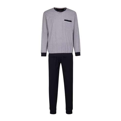 GÖTZBURG Herren Pyjama weiß bedruckt 1er Pack im 0° Winkel