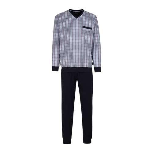 GÖTZBURG Herren Pyjama blau kariert im 0° Winkel