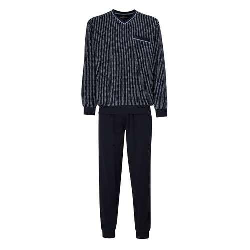GÖTZBURG Herren Pyjama blau bedruckt im 0° Winkel