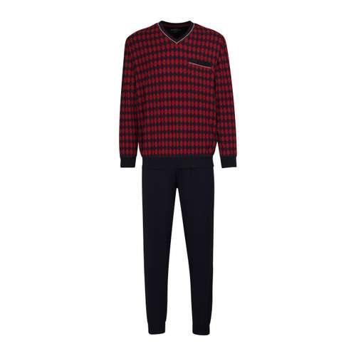 GÖTZBURG Herren Pyjama rot bedruckt im 0° Winkel