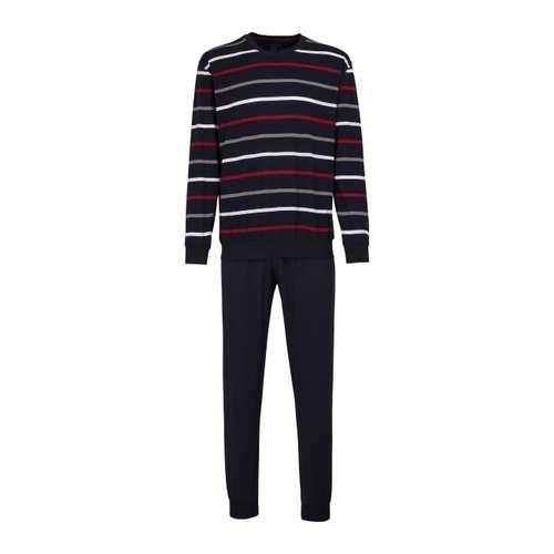 GÖTZBURG Herren Pyjama blau quergestreift im 0° Winkel
