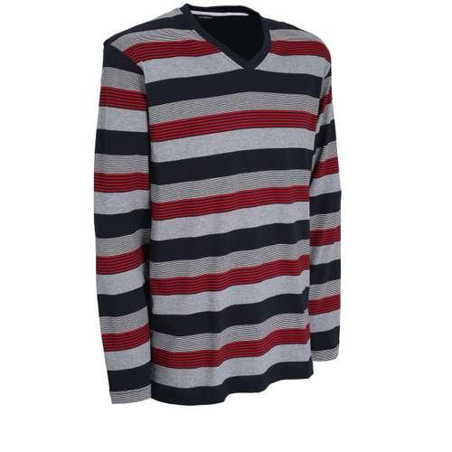 Bild von GÖTZBURG Herren Shirt rot quergestreift 1er Pack 330° Ansicht