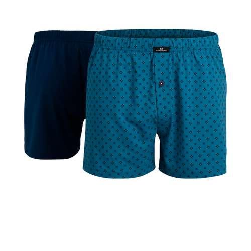 GÖTZBURG Herren Boxershort blau bedruckt 2er Pack im 0° Winkel